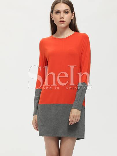 Orange Color Block Shift Dress