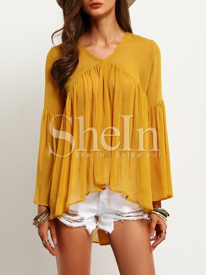 Fluted Sleeve Frill Semi-Sheer Blouse