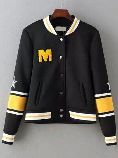 Black Yellow Stand Collar M Pattern Jacket
