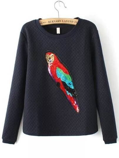 Black Round Neck Sequined Parrot Pattern Sweatshirt