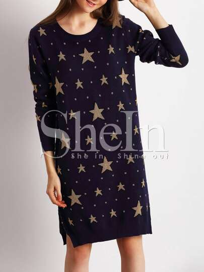 Navy Crew Neck Side Slit Star Sweater Dress