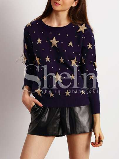 Navy Crew Neck Star Sweater