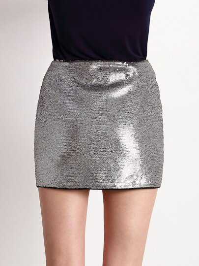 Sliver Sequined Bodycon Skirt