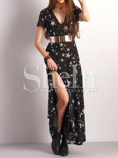 Black Plunge Star Print Side Slit Maxi Dress