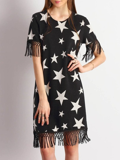Black Stars Print Fringe Hem Dress