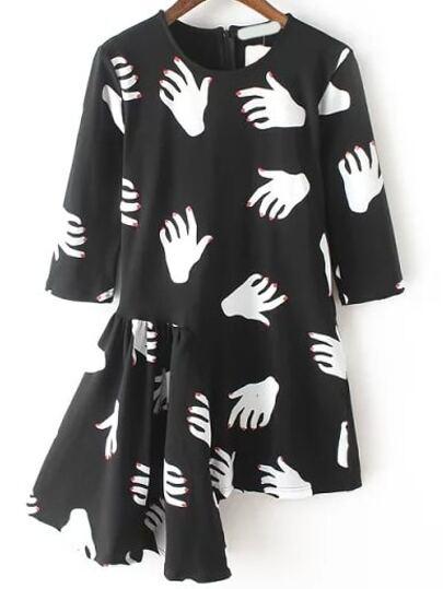 Black White Half Sleeve Hand Print Asymmetrical Dress