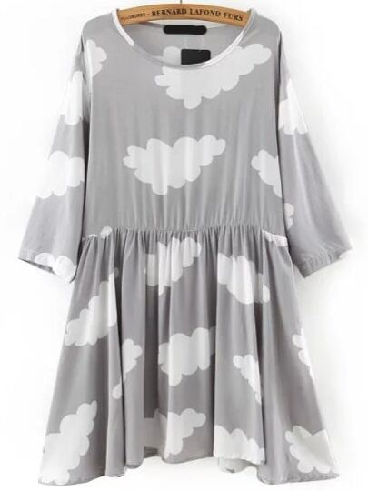 Grey Round Neck Cloud Print Pleated Dress