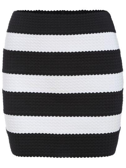 Black White Striped Bodycon Skirt