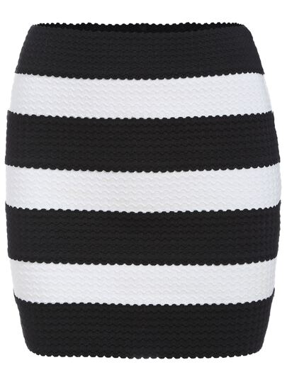 Falda rayas entallada -negro blanco