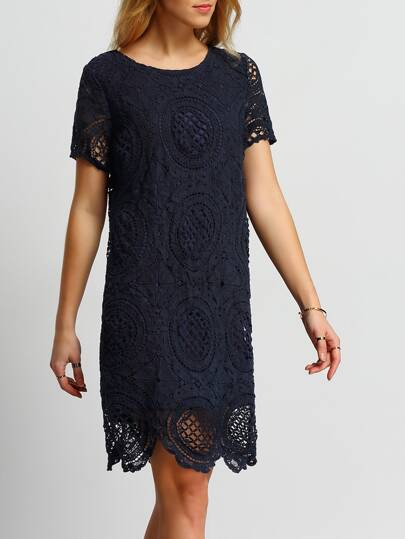 Navy Crochet Hollow Out Tunic Dress