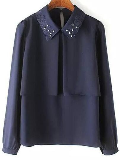Navy Embroidered Collar Bead Loose Blouse