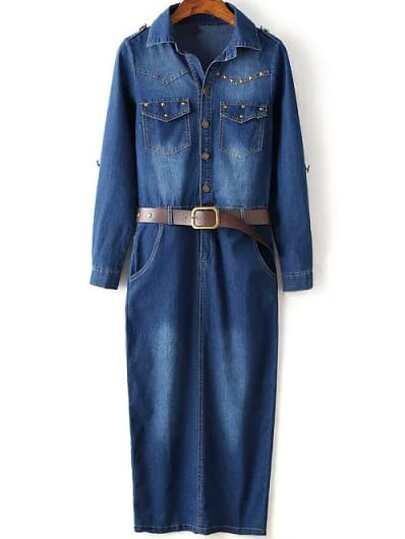 Navy Bleached Rivet Split Denim Dress