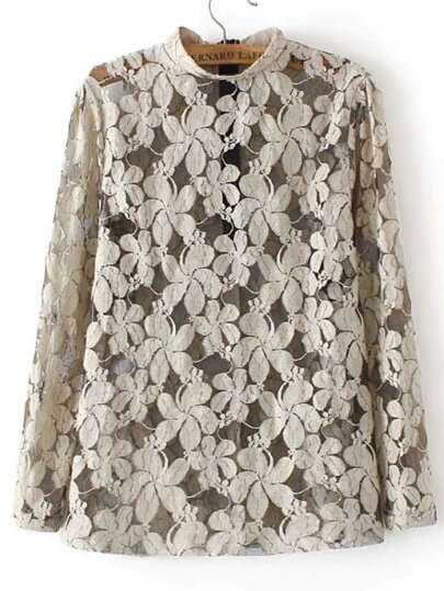 Khaki Stand Collar Sheer Lace Blouse