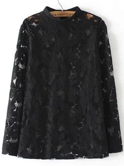 Black Stand Collar Sheer Lace Blouse