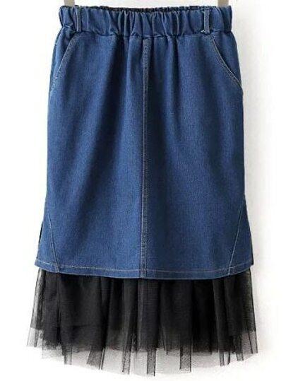 Blue Elastic Waist Mesh Denim Skirt