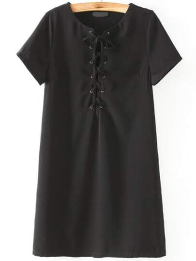 Black Short Sleeve Lace Up Dress
