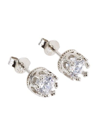 Silver Plated Rhinestone Crown Stud Earrings
