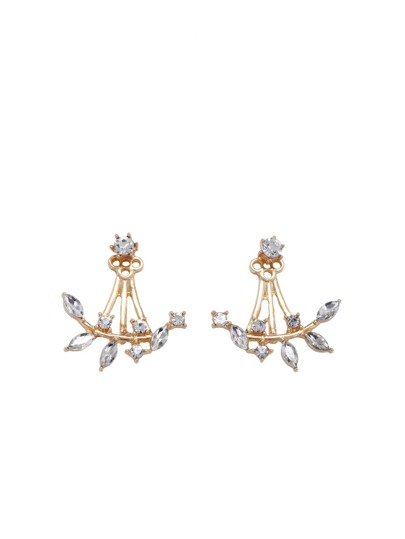 Gold Plated Leaf Crystal Double Sided Swing Stud Earrings