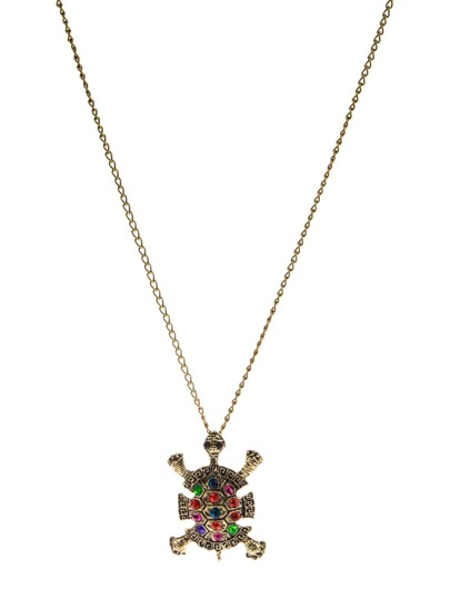 Multicolor Diamond Tortoise Pendant Necklace
