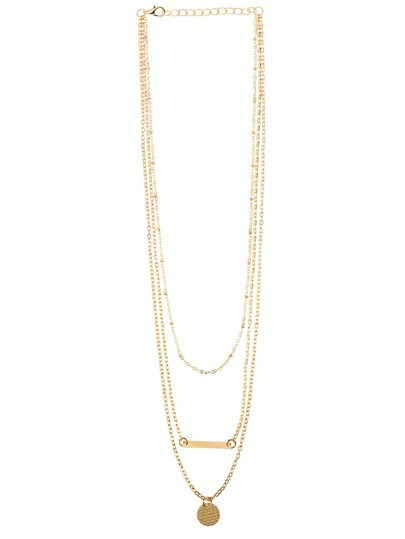 Gold Geometric Shape Metal Foil Necklace