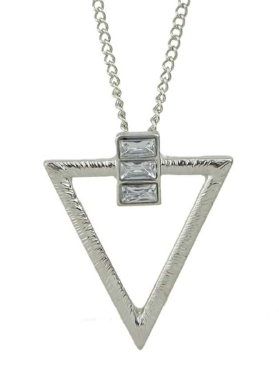 Silver Plated Triangle Pendant Necklace