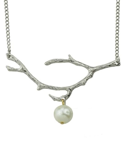 Silver Plated Pearl Pendant Necklace
