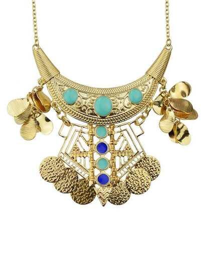 collier doré avec strass