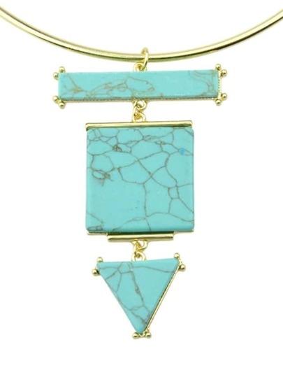 Blue Turquoise Pendant Choker Necklace