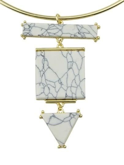 collier blanc turquoise avec pendentif
