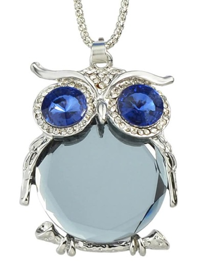 Gray Cute Rhinestone Owl Necklace