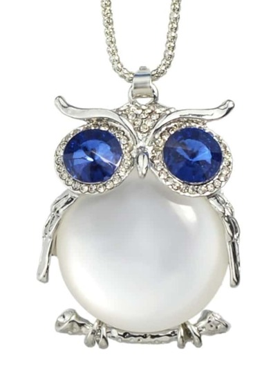White Cute Rhinestone Owl Necklace