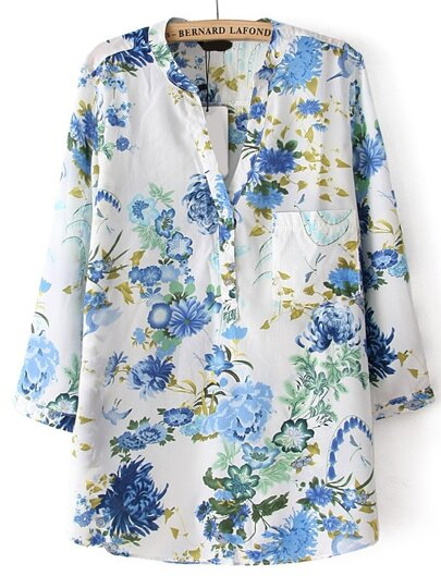 Blue V Neck Floral Pocket Loose Blouse