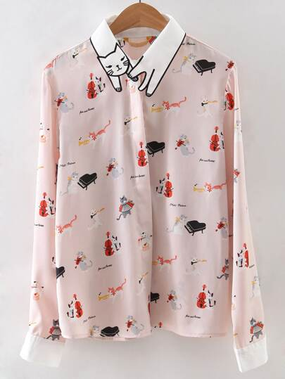 Apricot Embroidered Collar Cat Print Blouse