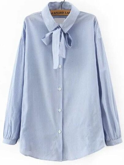 Blue Tie Neck Vertical Stripe Blouse