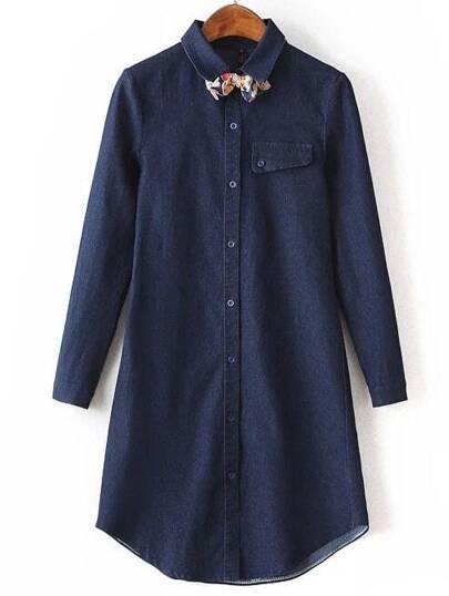 Navy Lapel Bow Embellished Denim Shirt Dress
