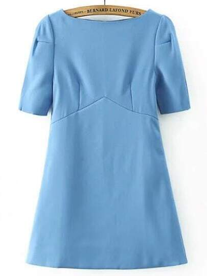 Blue Boat Neck Short Sleeve Dress