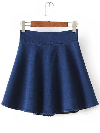 Blue High Waist Flare Denim Skirt
