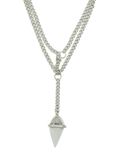 Silver Plated Chain Rhinestone Necklace