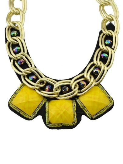 Yellow Wide Chain Collar Necklace
