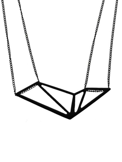 Black Geometric Shape Pendant Necklace