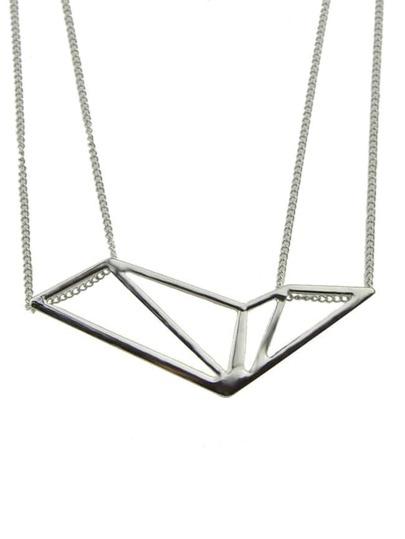Silver Geometric Shape Pendant Necklace