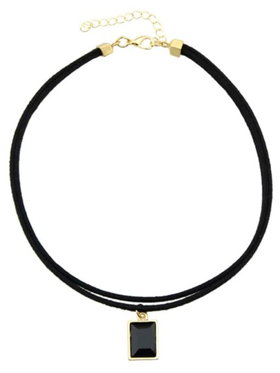 Black Pu Rhinestone Choker Necklace