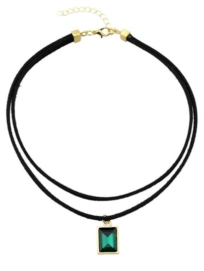 Green Pu Rhinestone Choker Necklace