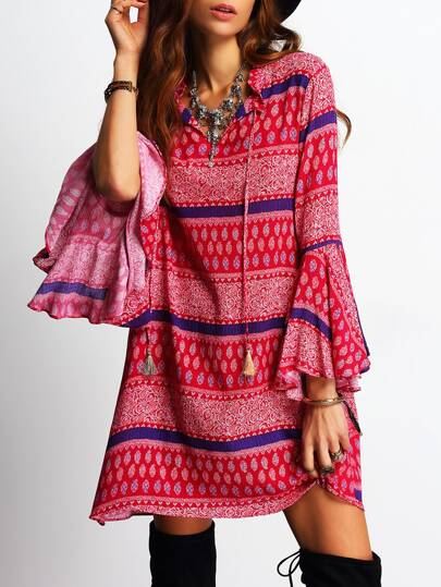 Bell Sleeve Tassel Vintage Print Dress