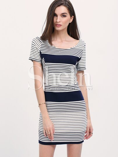 Black White Color Block Striped Bodycon Dress