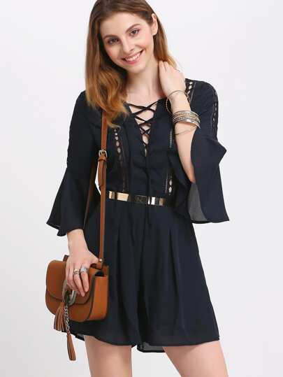 Navy Bell Sleeve Lace-up Pleated Dress