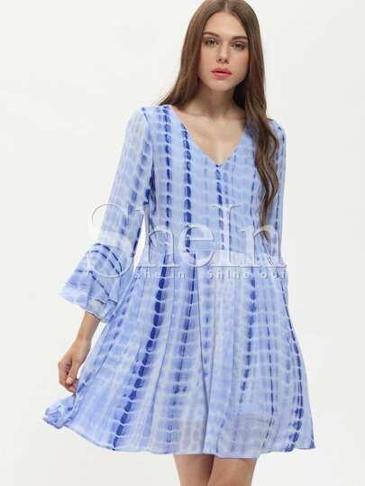 Blue V-neck Bell Sleeve Backless Dress