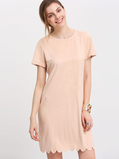 Light Nude Short Sleeve Lace Hem Shift Dress