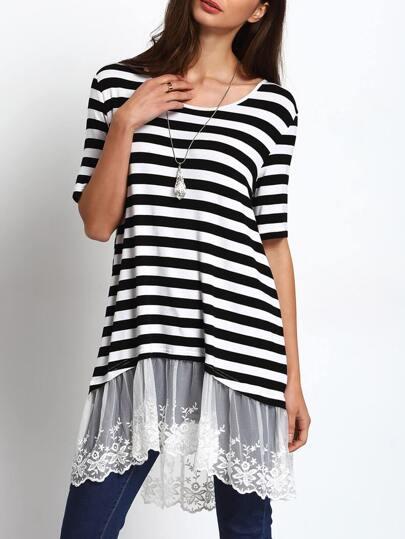 Black White Stripe Lace Hem T-shirt