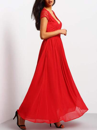 Bright Red V Neck Lace Splicing Maxi Dress